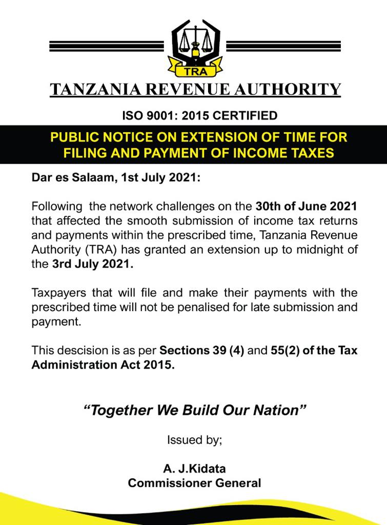 TRA extension on Income Tax